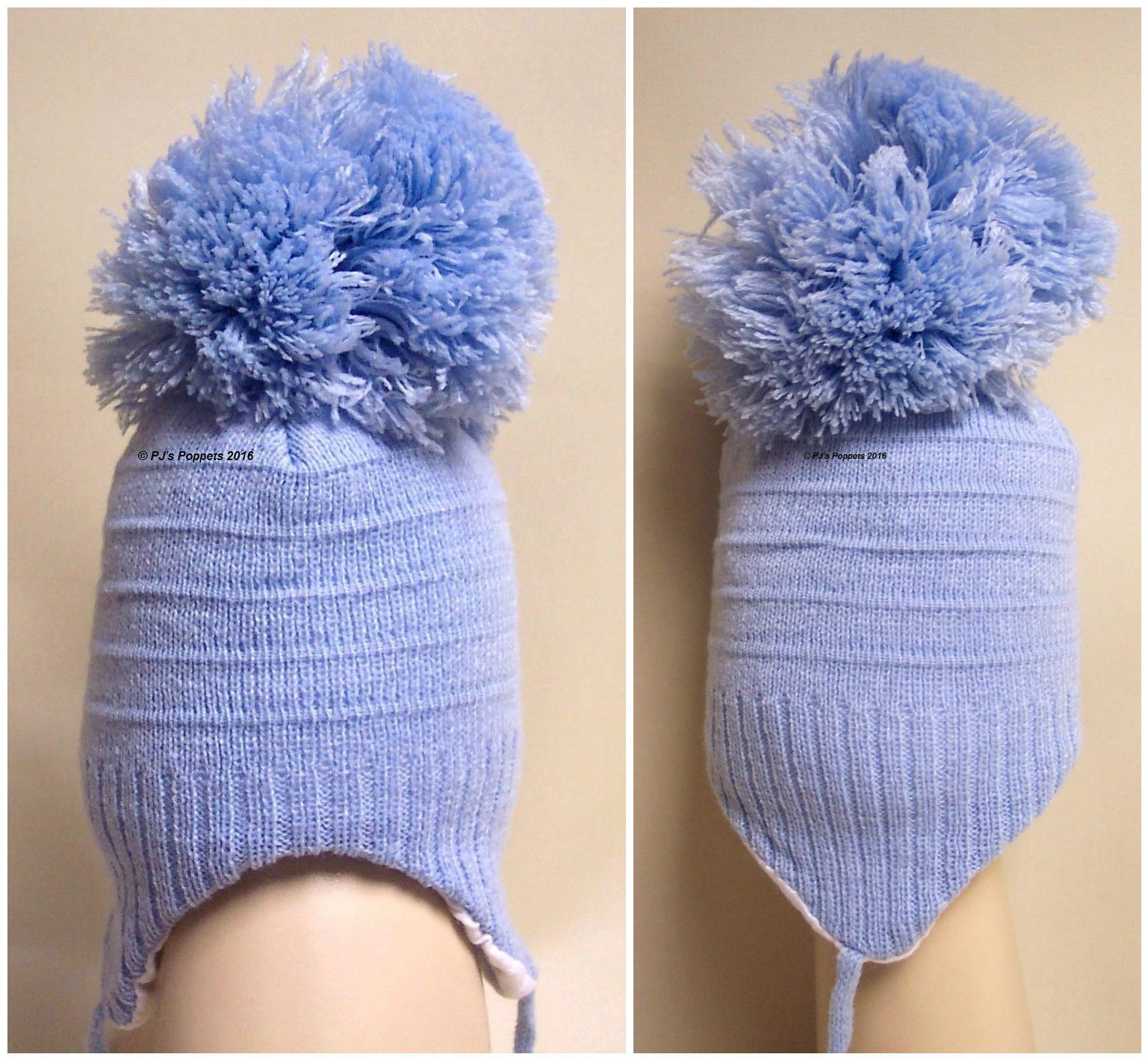 BABY BOYS GIRLS KNITTED LARGE POM POM BOBBLE HAT 0 3 6 PINK BLUE WHITE  SMALL FIT 869f290f5ba